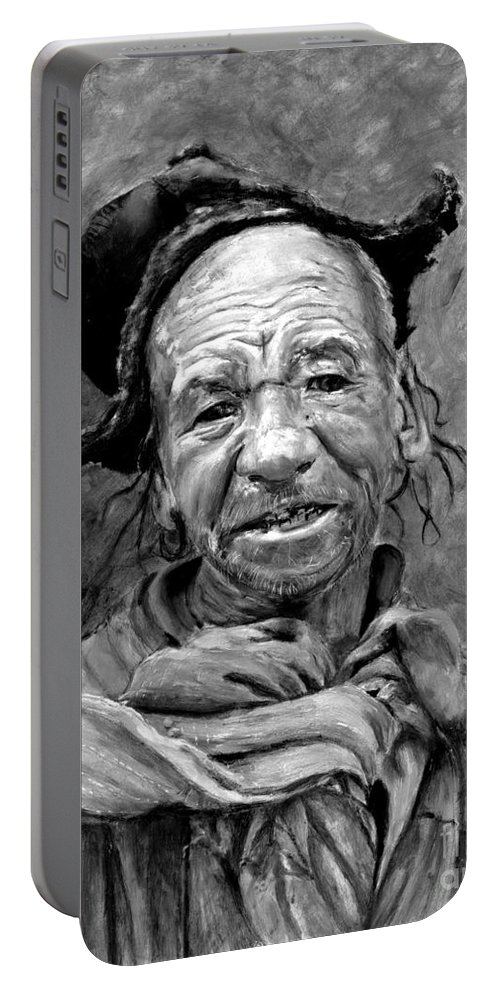 Man Portable Battery Charger featuring the painting Funky Hat by Portraits By NC