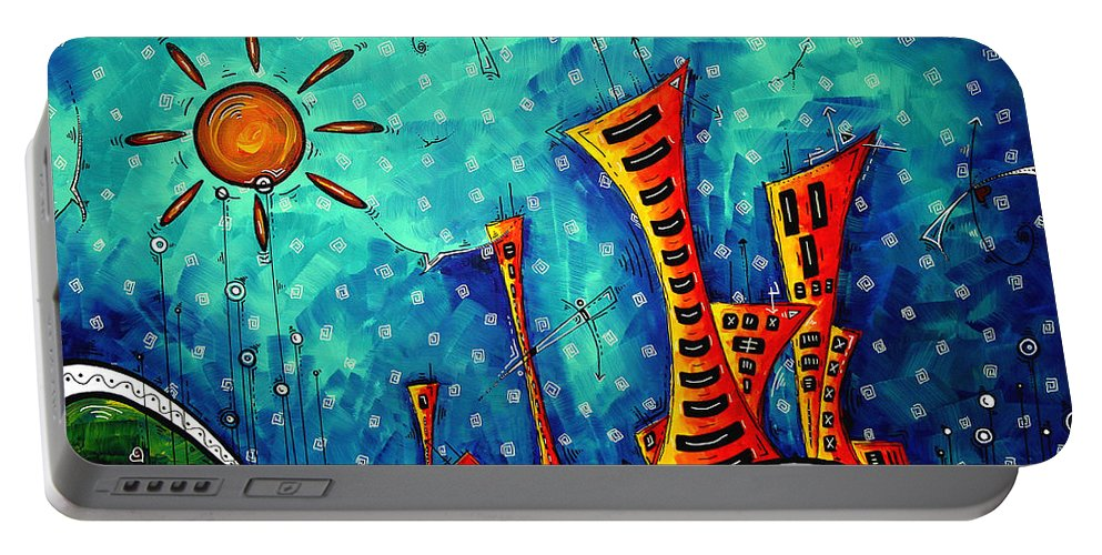 Art Portable Battery Charger featuring the painting Funky Town Original Madart Painting by Megan Duncanson