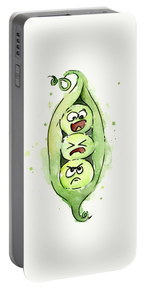 Pea Portable Battery Charger featuring the painting Funny Peas In A Pod by Olga Shvartsur