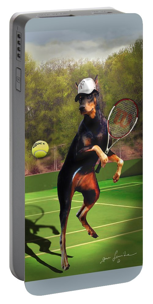 Fine Art Portable Battery Charger featuring the painting funny pet scene tennis playing Doberman by Regina Femrite