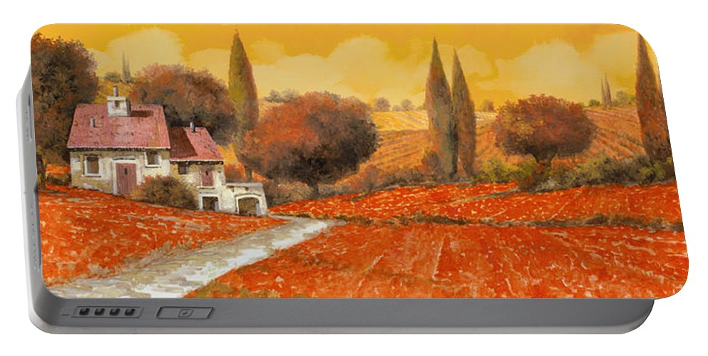 Tuscany Portable Battery Charger featuring the painting il fuoco della Toscana by Guido Borelli