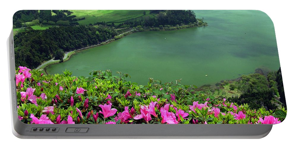 Azaleas Portable Battery Charger featuring the photograph Furnas Lake Azores by Gaspar Avila