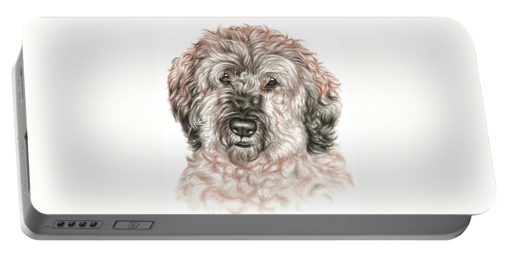 Dog Portable Battery Charger featuring the drawing Furry Friend by Nicole Zeug