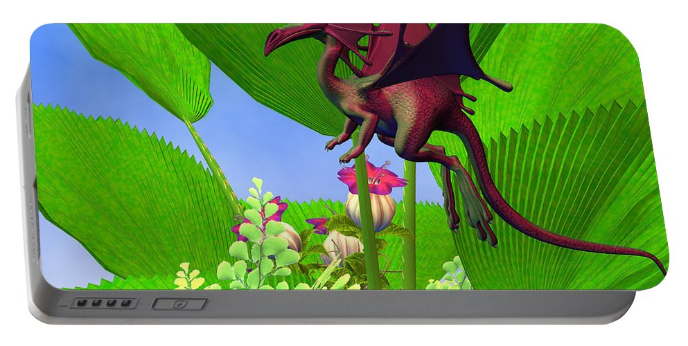Dragon Portable Battery Charger featuring the painting Fury Flying Dragon by Corey Ford
