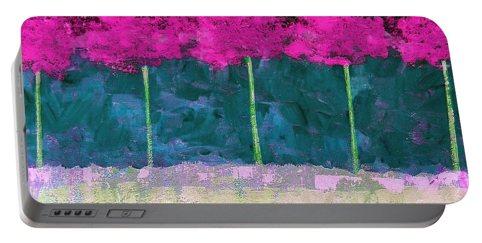 Abstract Portable Battery Charger featuring the painting Fuschia Trees by Ruth Palmer