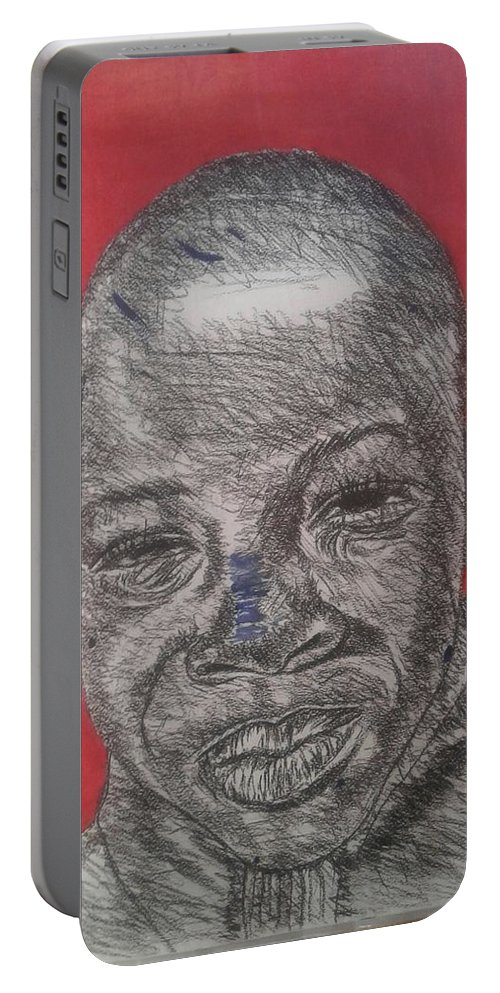 Portrait Portable Battery Charger featuring the mixed media Future by Kabelo Letsweni