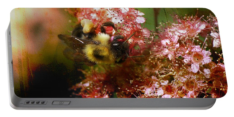 Bee Portable Battery Charger featuring the photograph Fuzzy Buzzy by Sari Sauls