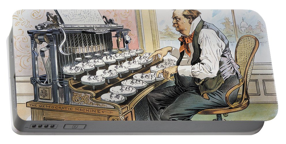 1893 Portable Battery Charger featuring the photograph G. Cleveland Cartoon, 1893 by Granger