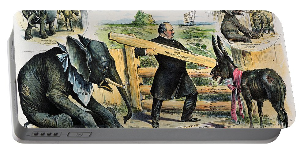 1895 Portable Battery Charger featuring the photograph G. Cleveland Cartoon, 1895 by Granger