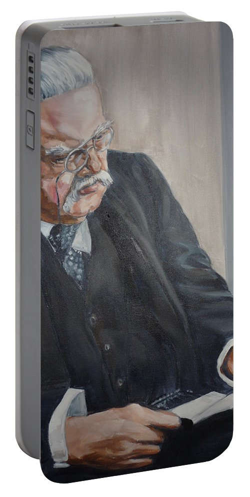Chesterton Author Catholic Portable Battery Charger featuring the painting G K Chesterton by Bryan Bustard