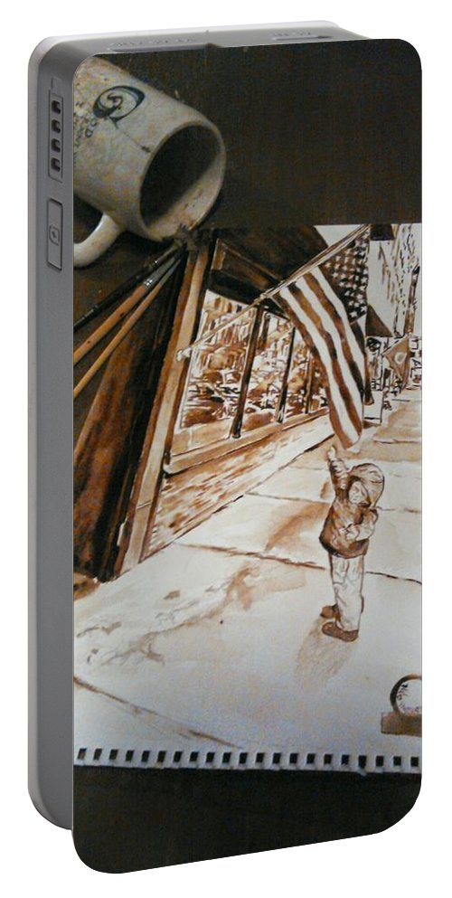 #coffee4paint Portable Battery Charger featuring the painting Gabriel At Original Italian  by Nathanael Manzer