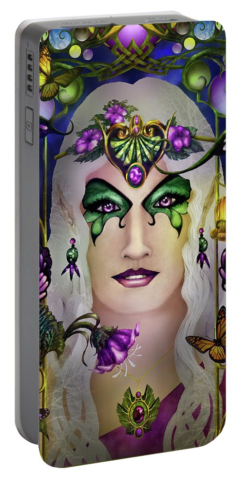 Tolkien Portable Battery Charger featuring the painting Galadriel by Curtiss Shaffer