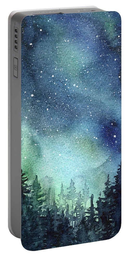 Watercolor Galaxy Portable Battery Charger featuring the painting Galaxy Watercolor Aurora Painting by Olga Shvartsur