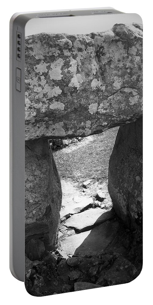 Ireland Portable Battery Charger featuring the photograph Gallery Entrance At Creevykeel Court Cairn Ireland by Teresa Mucha