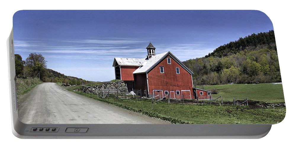 Rural Portable Battery Charger featuring the photograph Gallop Road Barn by Deborah Benoit