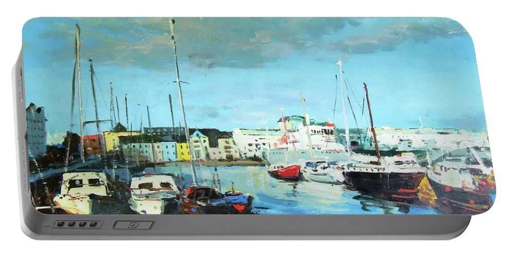 Galway Portable Battery Charger featuring the painting Galway Docks by Conor McGuire