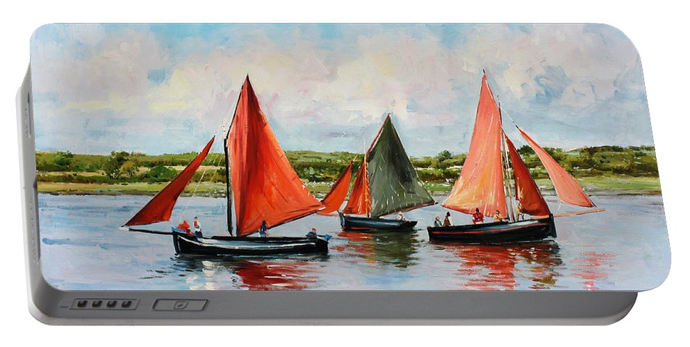 Galway Hooker Portable Battery Charger featuring the painting Galway Hookers by Conor McGuire