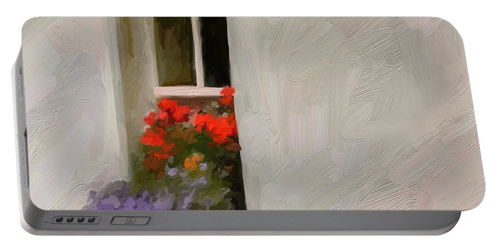 Art Painting Landscape Portable Battery Charger featuring the digital art Galway Window by Scott Waters