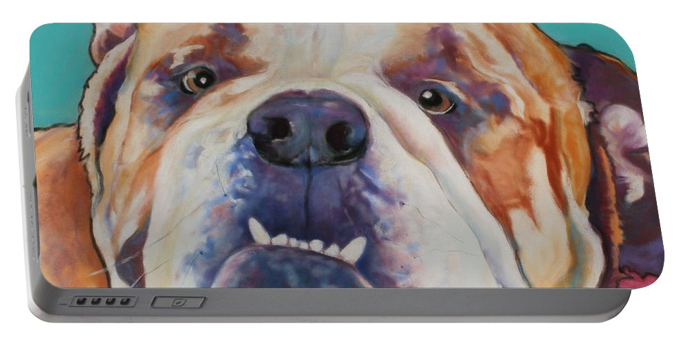 Pat Saunders-white Pet Portraits Portable Battery Charger featuring the painting Game Face  by Pat Saunders-White
