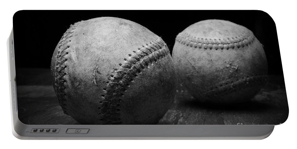 Paul Ward Portable Battery Charger featuring the photograph Game Used Baseballs In Black And White by Paul Ward