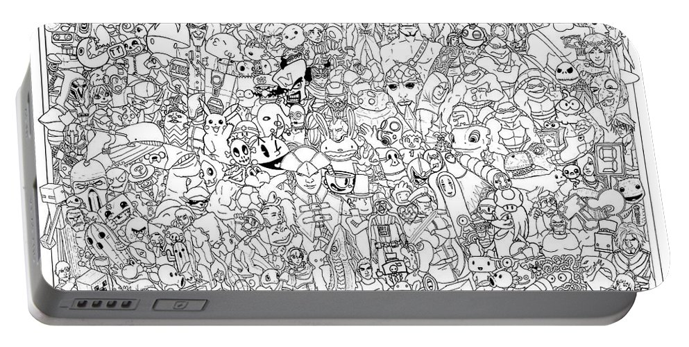 Gaming Coloring Poster Page Windows Platstation Xbox Nintendo Sony Microsoft Mario Zelda Pokemon Sonic Portable Battery Charger featuring the drawing Gaming Themed Coloring Poster by Austin Alander