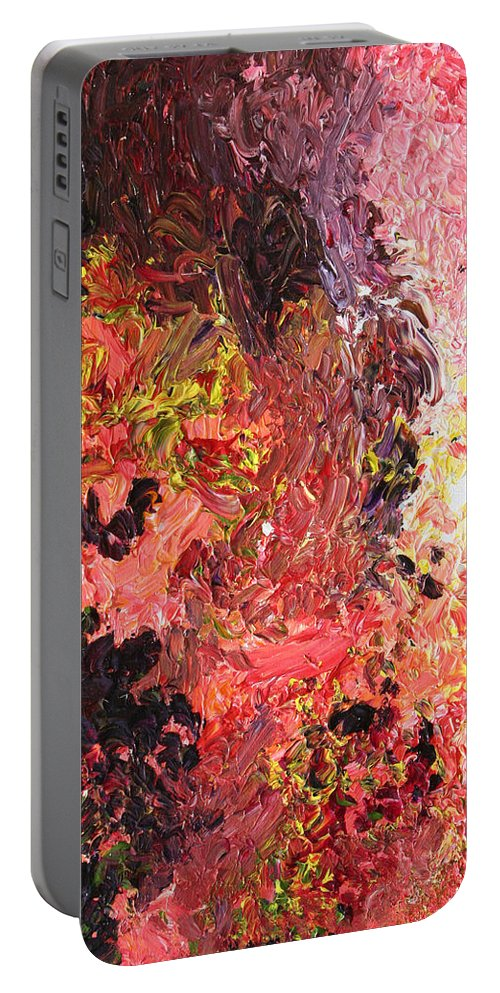 Fusionart Portable Battery Charger featuring the painting Ganesh in the Garden by Ralph White
