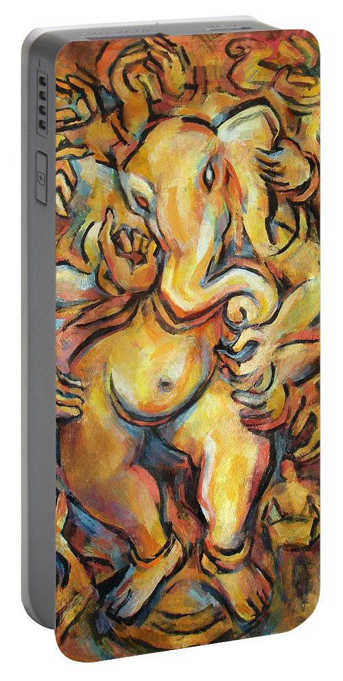 Ganesha Portable Battery Charger featuring the painting Ganesha by Abbie Rabinowitz