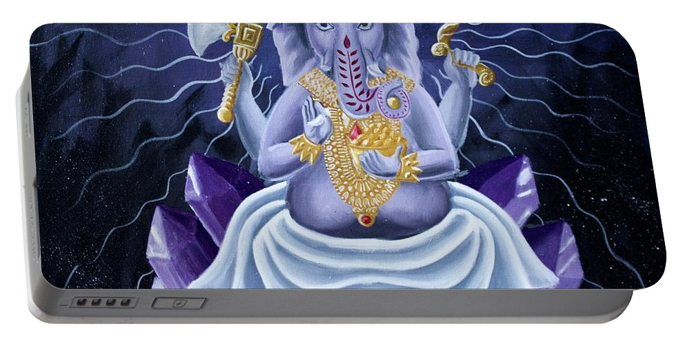 Spiritual Portable Battery Charger featuring the painting Ganesha by Tyler Schmalz