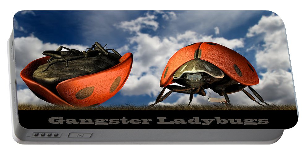 Ladybug Portable Battery Charger featuring the digital art Gangster Ladybugs Nature Gone Mad by Bob Orsillo