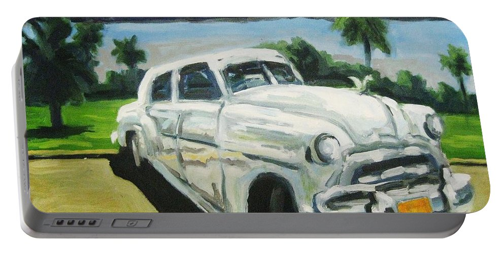 Old Cars Portable Battery Charger featuring the painting Gangsters On Vacation by John Malone
