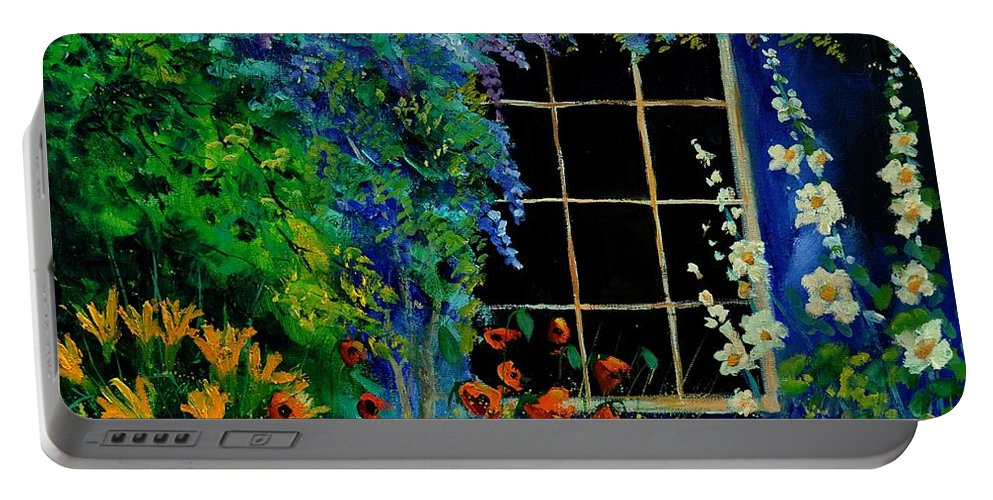 Flowers Portable Battery Charger featuring the painting Garden 88 by Pol Ledent