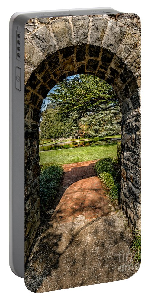 Garden Portable Battery Charger featuring the photograph Garden Archway by Adrian Evans