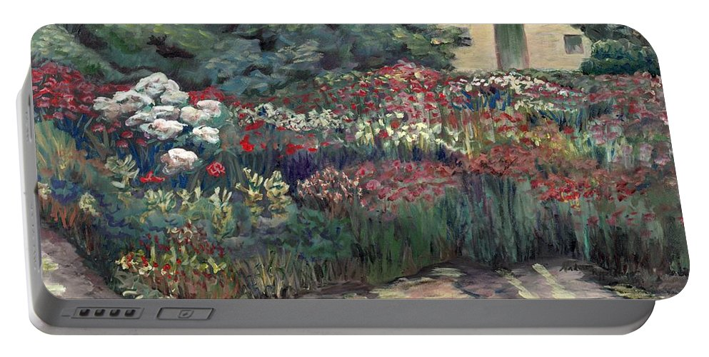 Breck Portable Battery Charger featuring the painting Garden At Giverny by Nadine Rippelmeyer