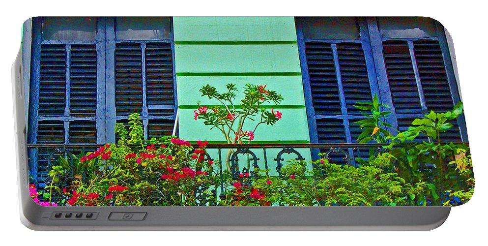 Garden Portable Battery Charger featuring the photograph Garden Balcony by Debbi Granruth