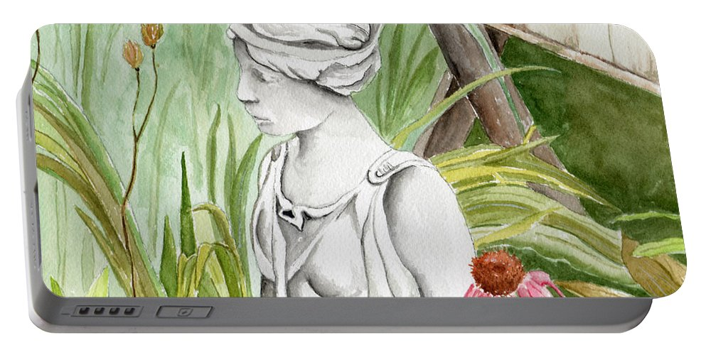Watercolor Scenery Color Rural Garden Statue Woman Gardening Plants Flower Green Portable Battery Charger featuring the painting Garden Beauty by Brenda Owen