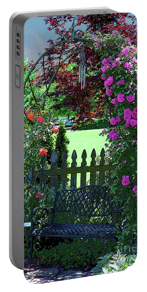 Roses Portable Battery Charger featuring the photograph Garden Bench And Trellis by Nancy Mueller
