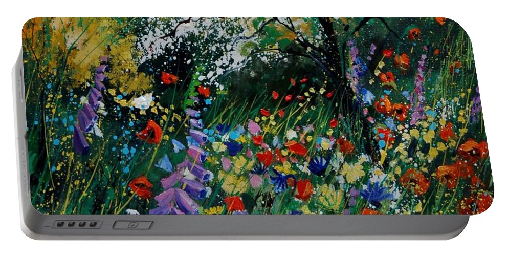 Flowers Portable Battery Charger featuring the painting Garden Flowers by Pol Ledent