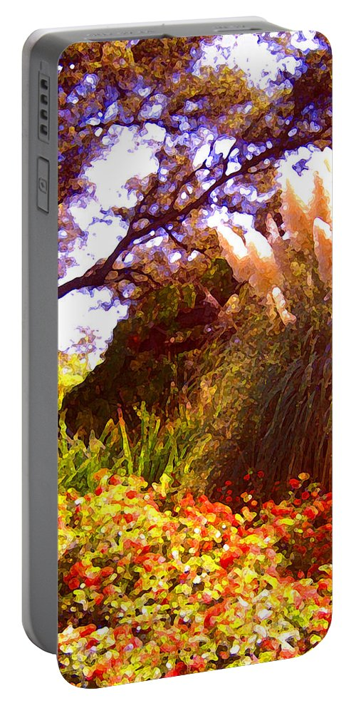 Landscapes Portable Battery Charger featuring the painting Garden Landscape by Amy Vangsgard