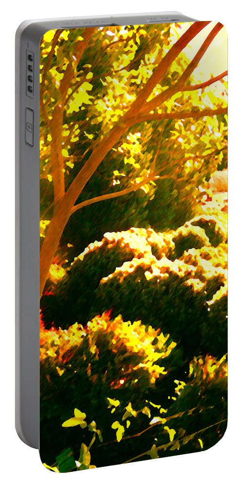 Landscapes Portable Battery Charger featuring the painting Garden Landscape On A Sunny Day by Amy Vangsgard