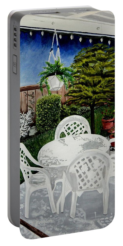 Landscape Portable Battery Charger featuring the painting Garden Lights by Elizabeth Robinette Tyndall