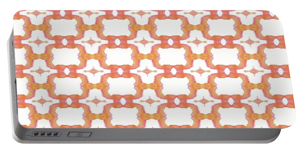 Abstract Portable Battery Charger featuring the painting Garden Mums	 by Olivia Meadows