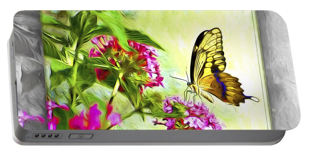 Butterfly Portable Battery Charger featuring the photograph Garden Of Love by Carolyn Marshall
