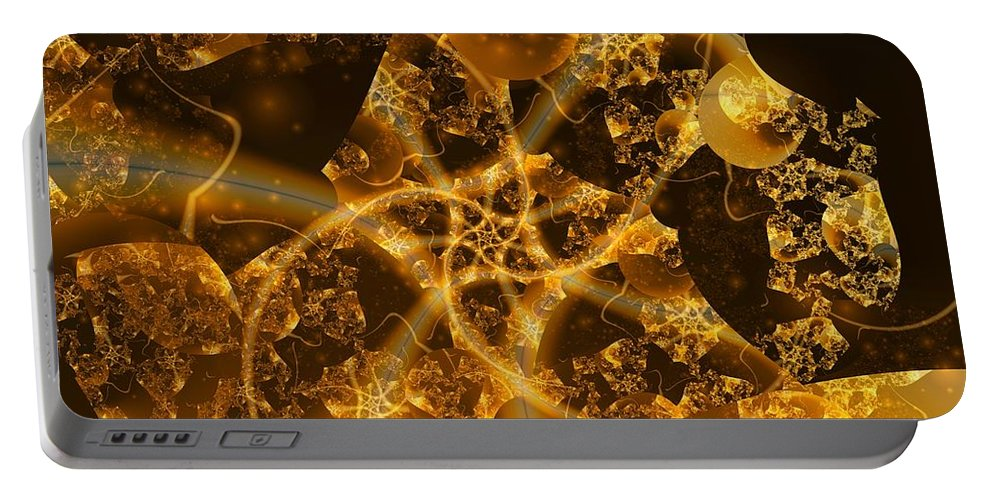 Fractal Art Portable Battery Charger featuring the digital art Garden Of The Golden Orbs by Ron Bissett