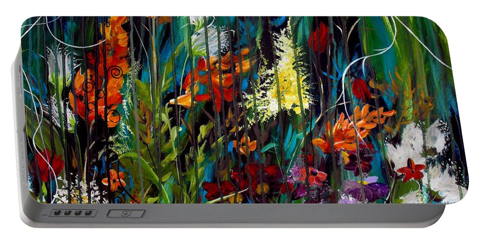 Abstract Portable Battery Charger featuring the painting Garden Of Wishes by Ruth Palmer