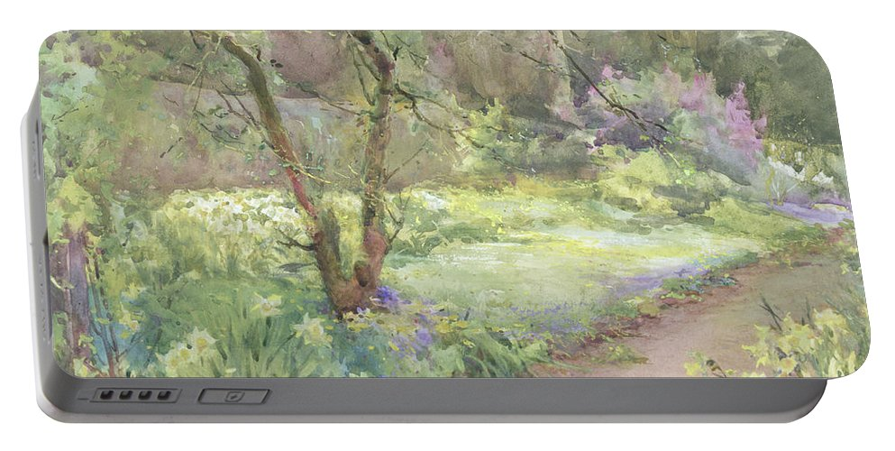 Flower Portable Battery Charger featuring the painting Garden Path by Mildred Anne Butler