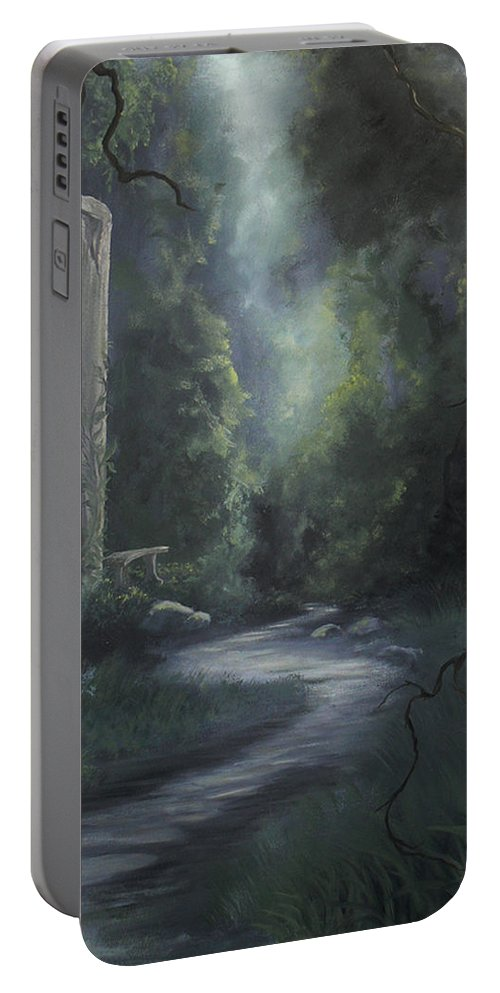 Ancient Portable Battery Charger featuring the painting Garden Path by Natalie LaRocque