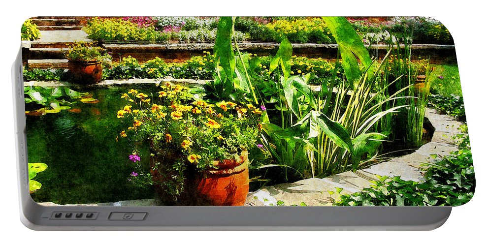 Pond Portable Battery Charger featuring the photograph Garden Pond by Susan Savad