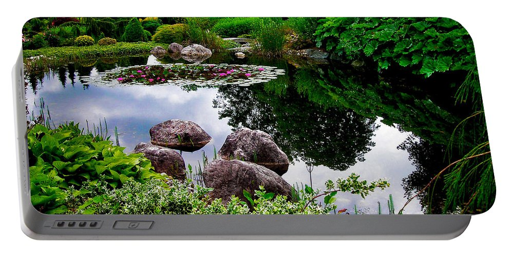 Garden Portable Battery Charger featuring the photograph Garden Reflections ... by Juergen Weiss