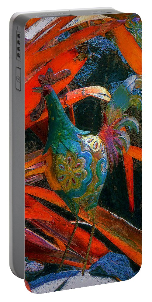 Chicken Portable Battery Charger featuring the photograph Garden Rooster by Lori Seaman