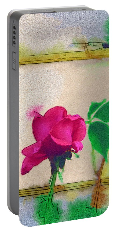 Rose Portable Battery Charger featuring the digital art Garden Rose by Holly Ethan